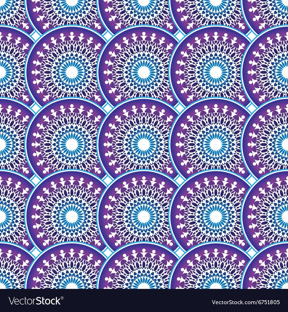 Vintage violet-blue-white seamless pattern