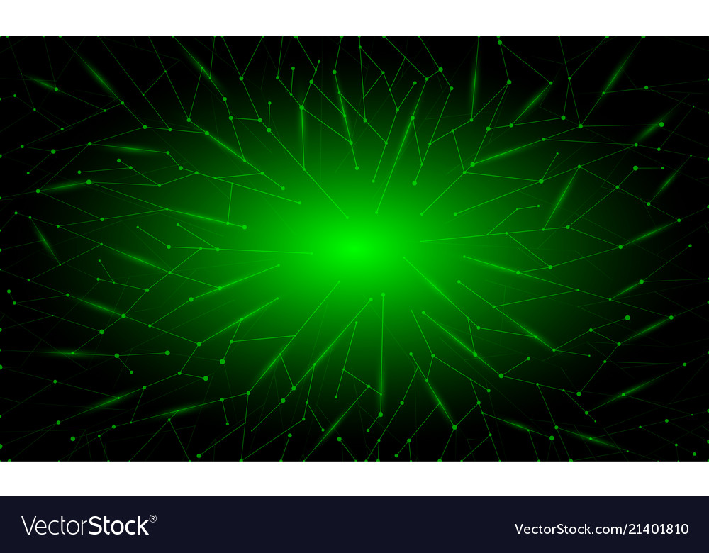 Abstract Green Neon Polygonal Background