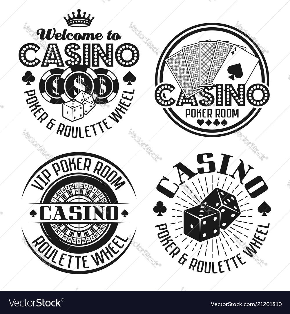 Casino and gambling four black emblems
