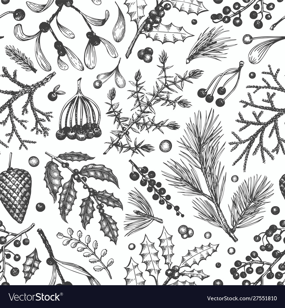 Christmas seamless pattern hand drawn winter