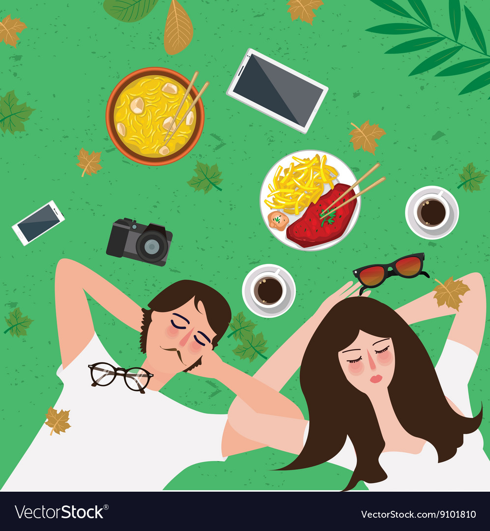 Couple lying on grass enjoy relax with food in vector image