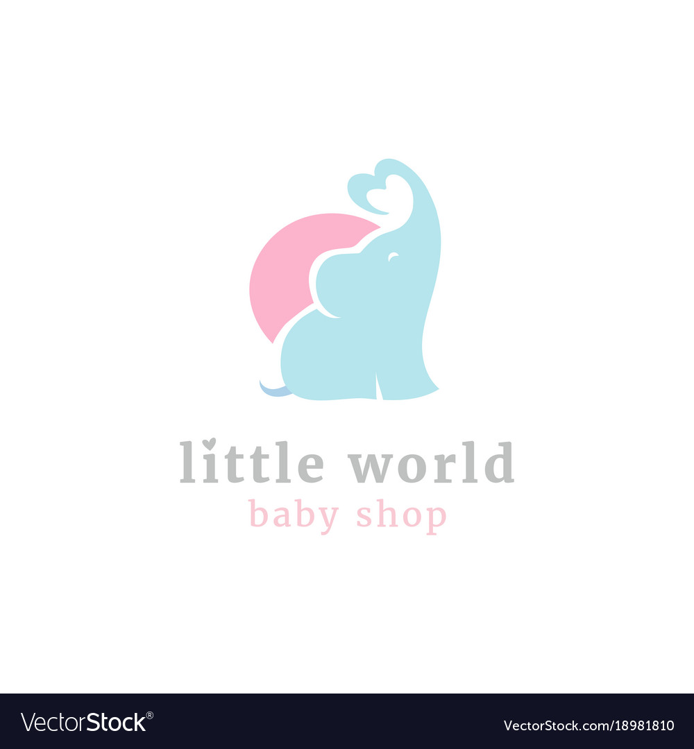 Cute little elephant logo vector image