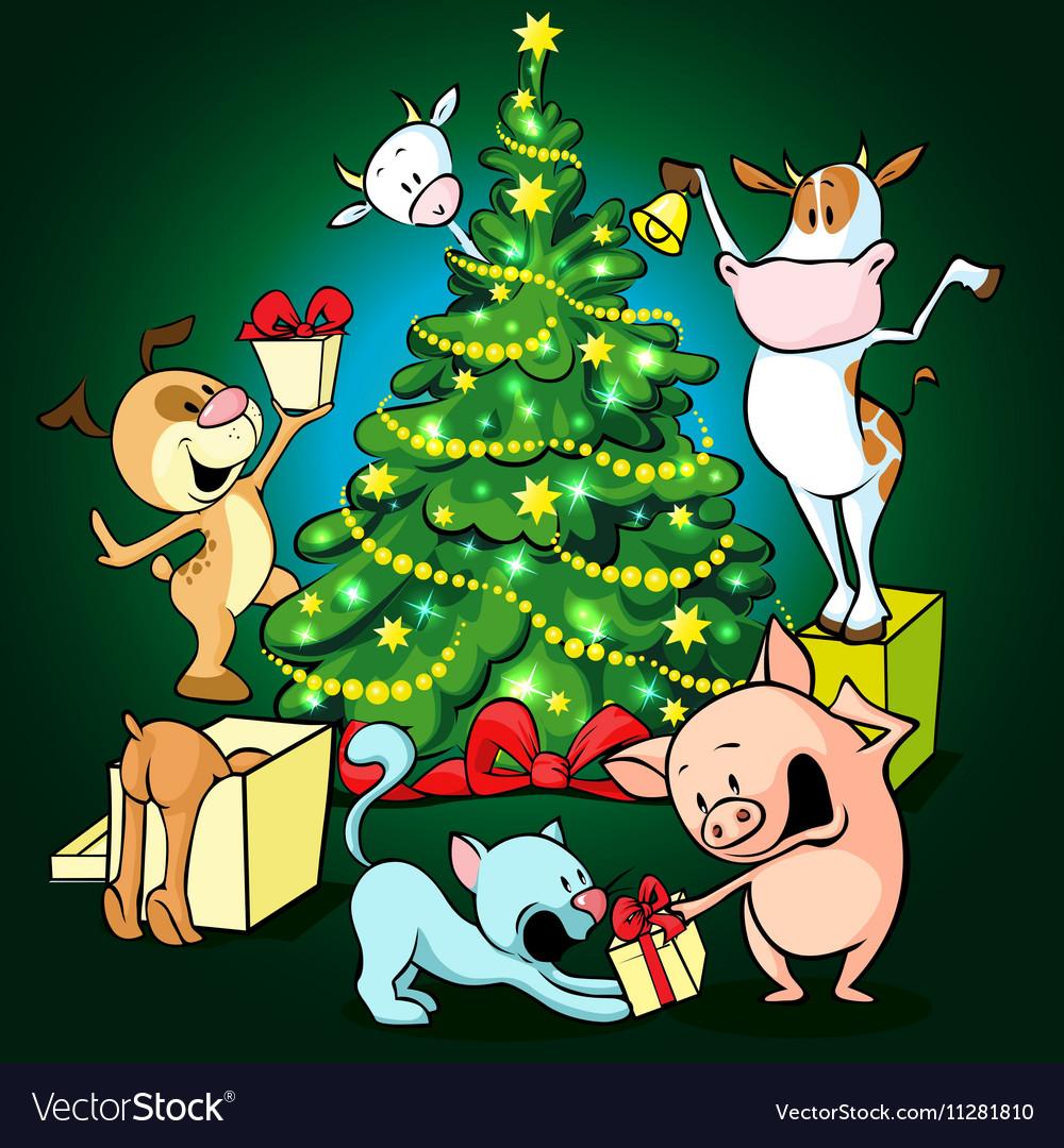 Farm animals celebrate Christmas under the tree