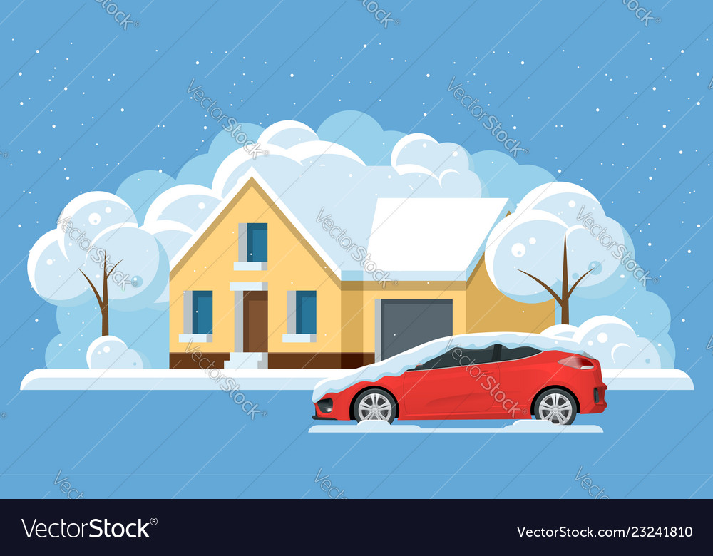 Flat panorama small house under snow and car