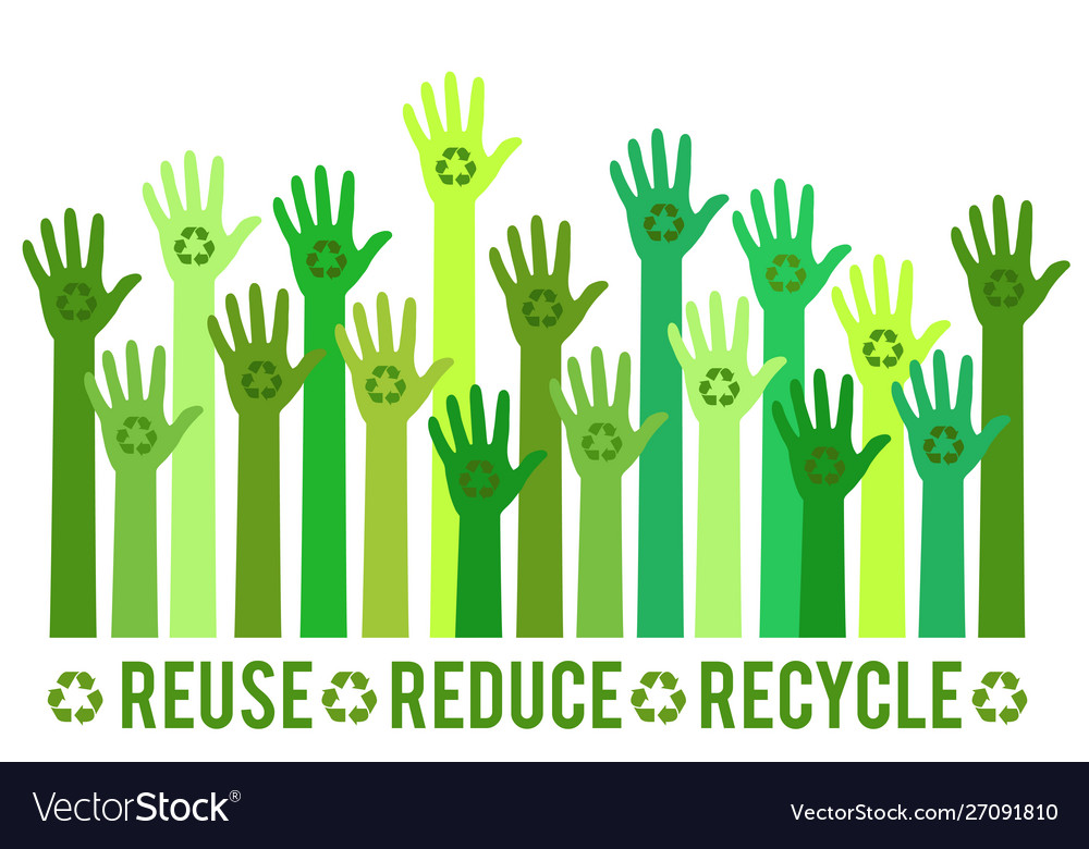 Hands with green recycle sign