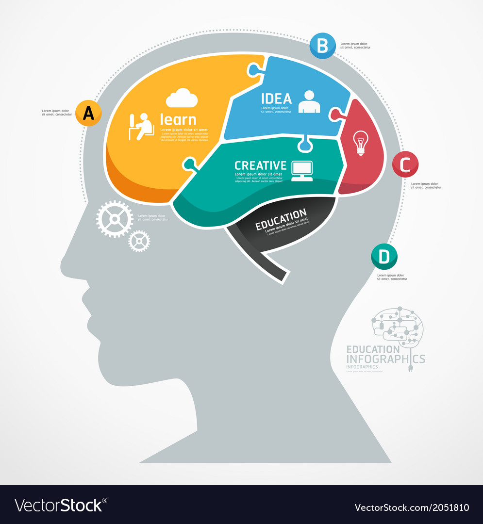 Puzzle Jigsaw Abstract Human Brain infographic