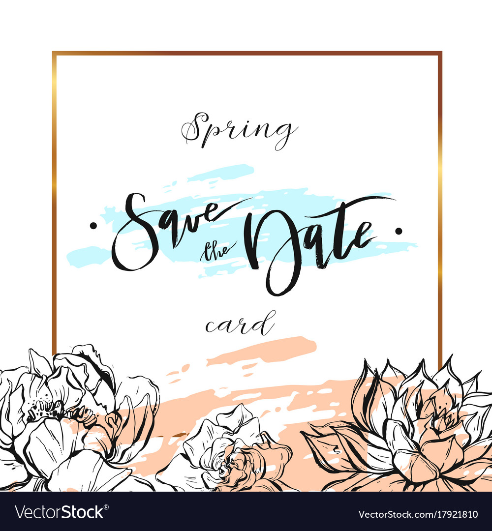 Save the date cards wedding invitation with hand