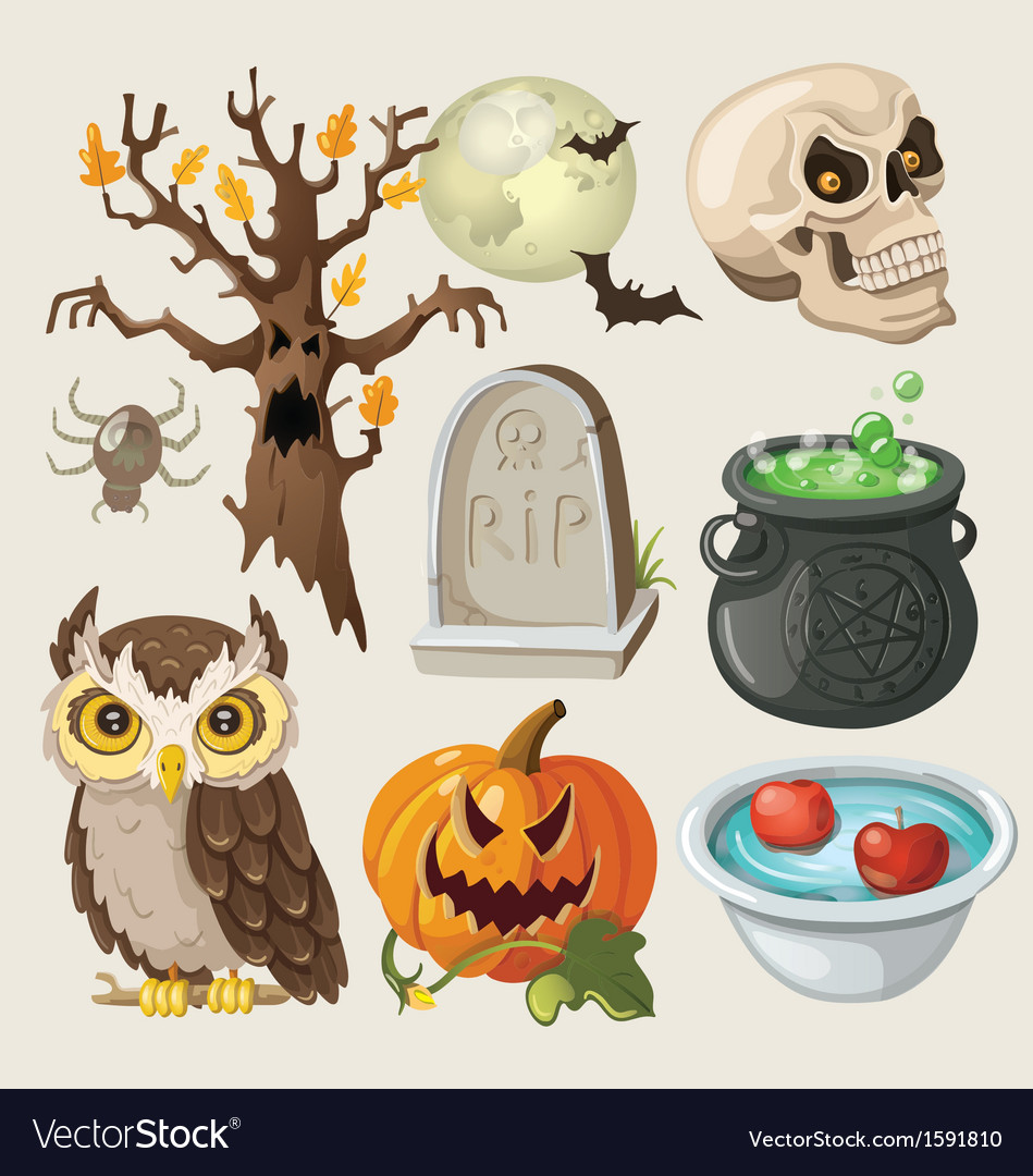 Set of colorful items for halloween