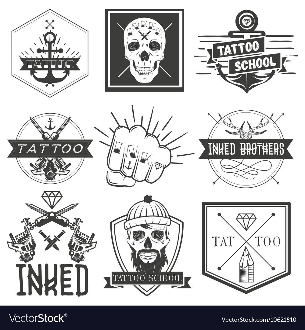 Set tattoo school emblems logos