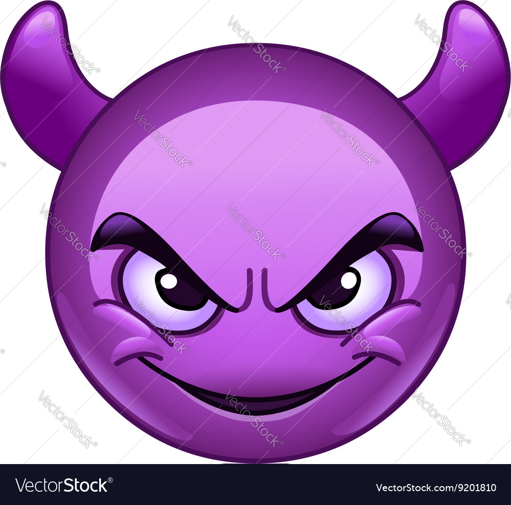 Smiling face wirh horns emoticon vector image