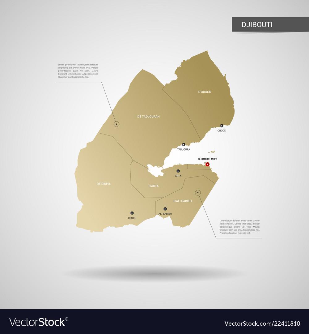 Stylized djibouti map Royalty Free Vector Image