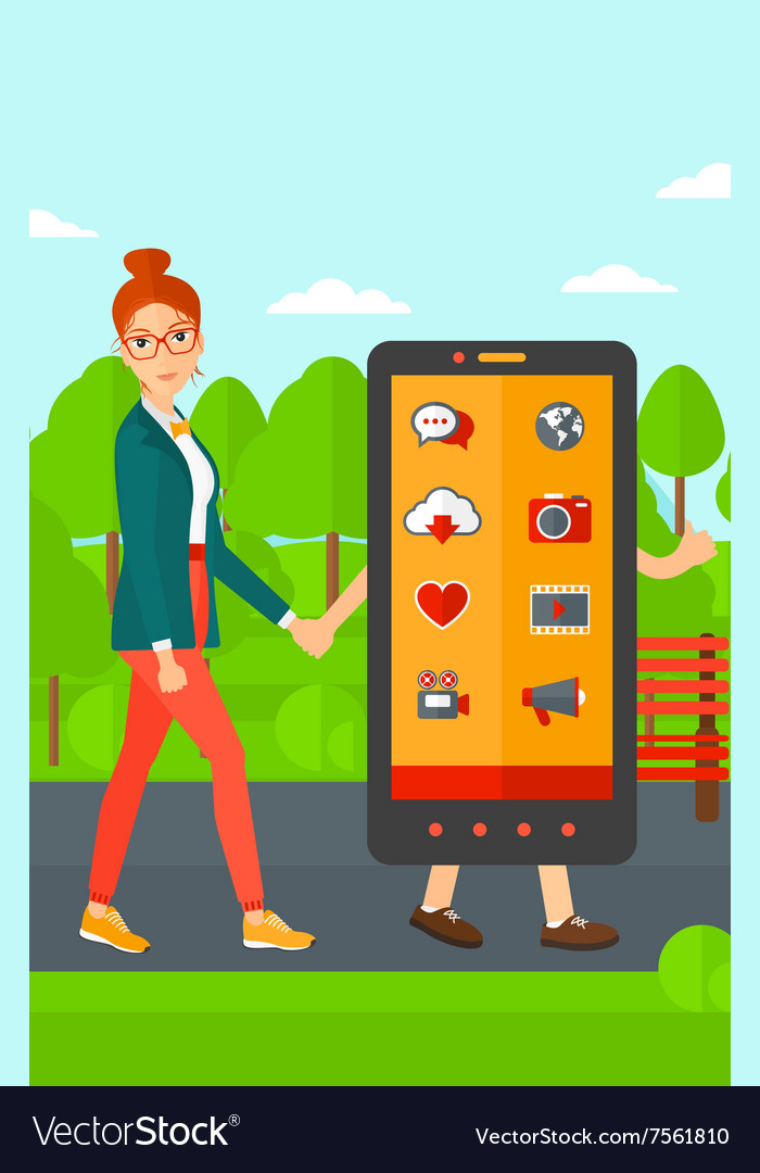 Woman walking with smartphone
