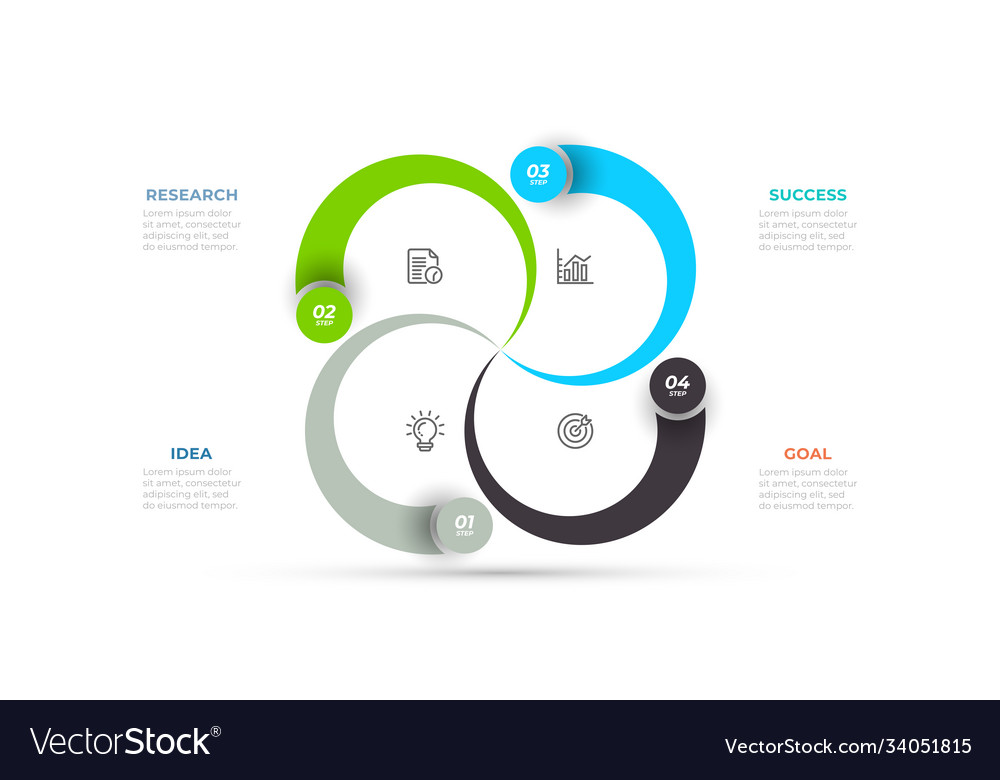 Business infographic template design with 4 option