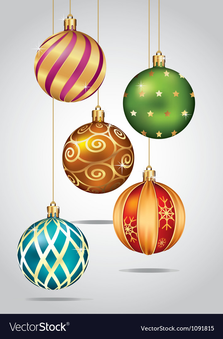 christmas ornaments hanging on gold thread vector image - Gold Christmas Ornaments