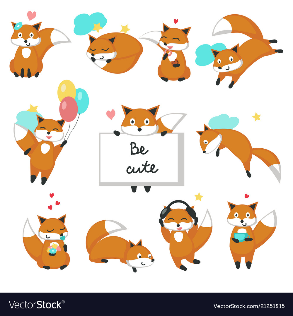 Cute fox icon set isolated