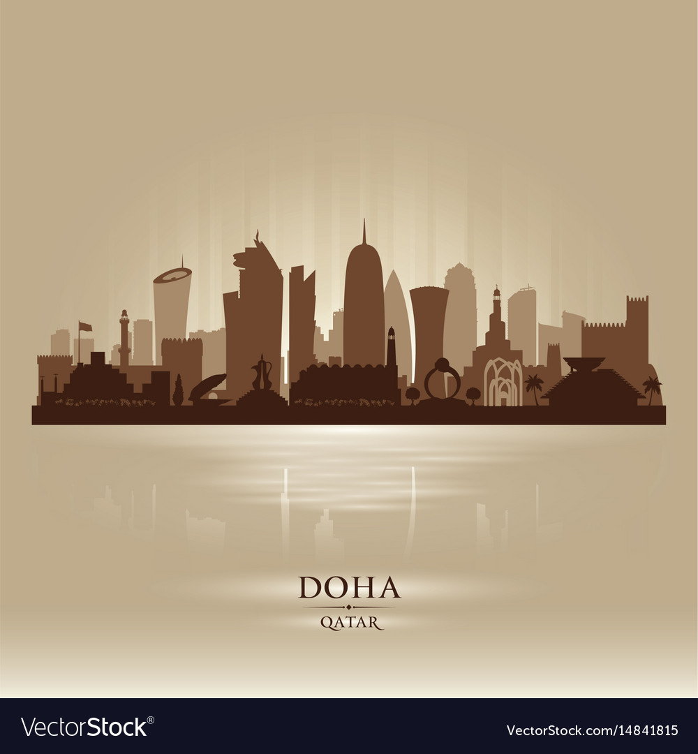 Doha qatar city skyline silhouette