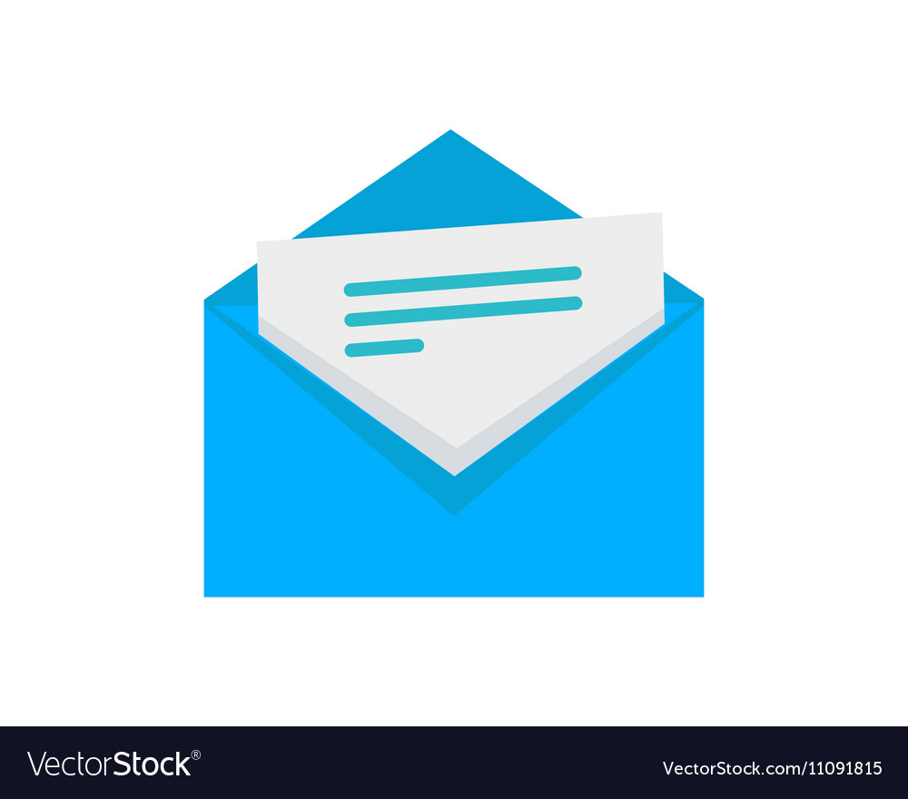 envelope with letter flat style icon royalty free vector