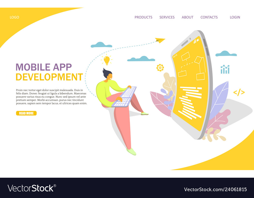Mobile app development website landing page
