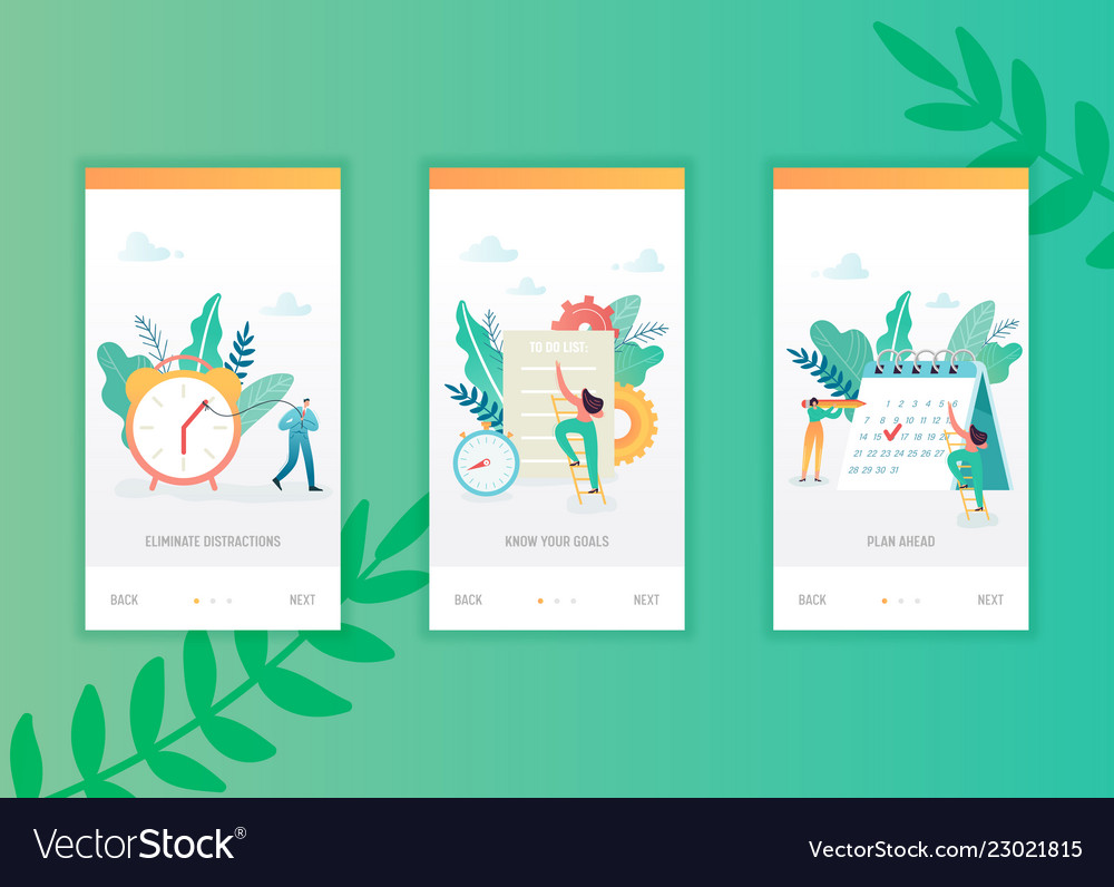 Time management onboarding screens template