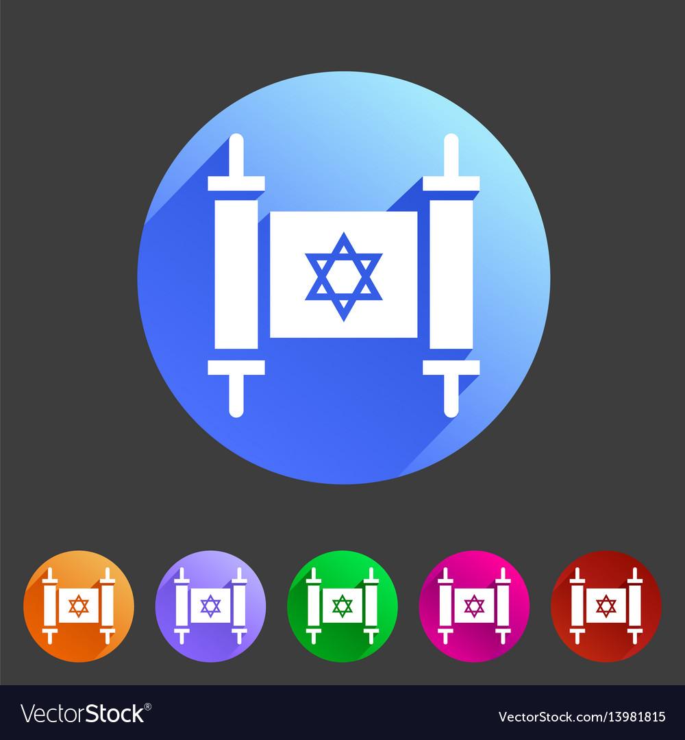 Torah jewish scroll book icon flat web sign symbol