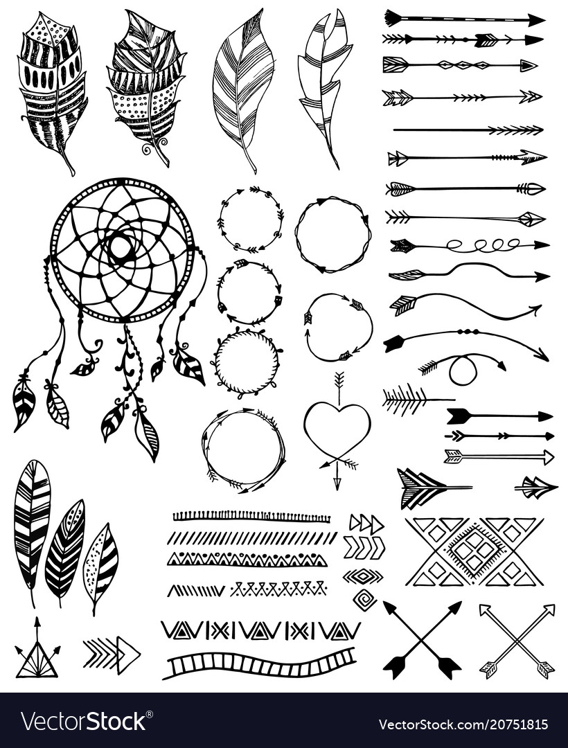 Tribal pack icon set sketch