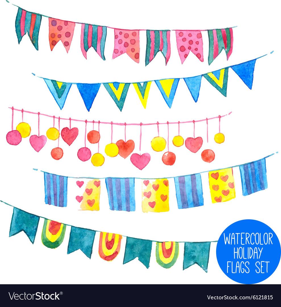 Watercolor Holiday Garlands Set