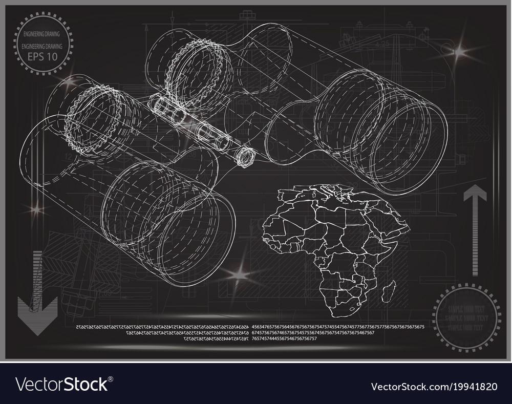 Binoculars on a gray vector image