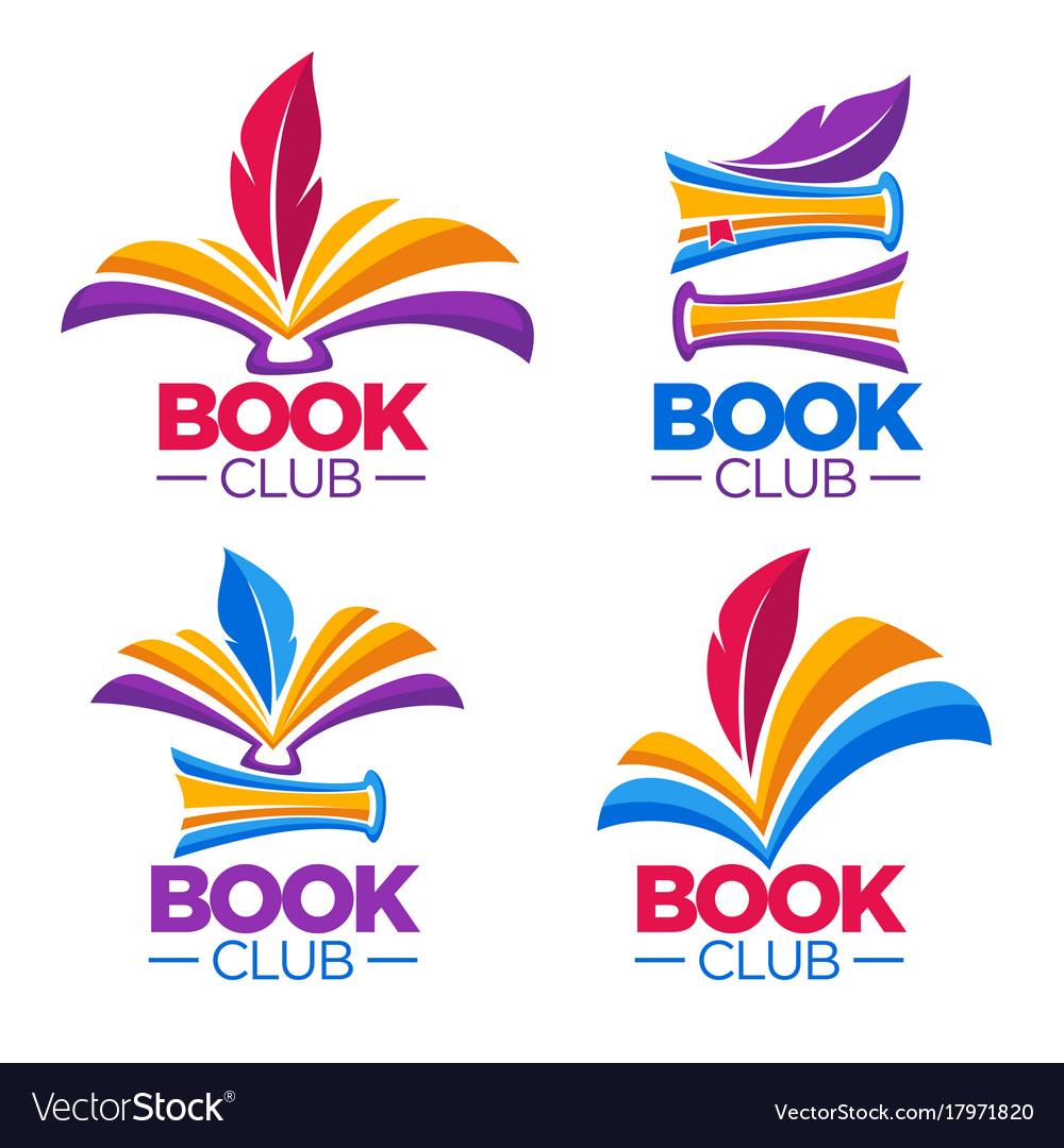 Book club library or shop cartoon logo template vector image