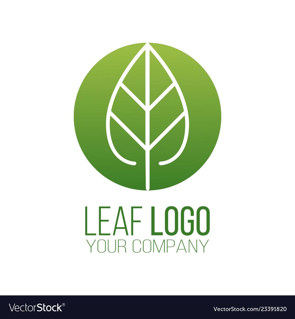 Circle green leaf logo icon design landscape