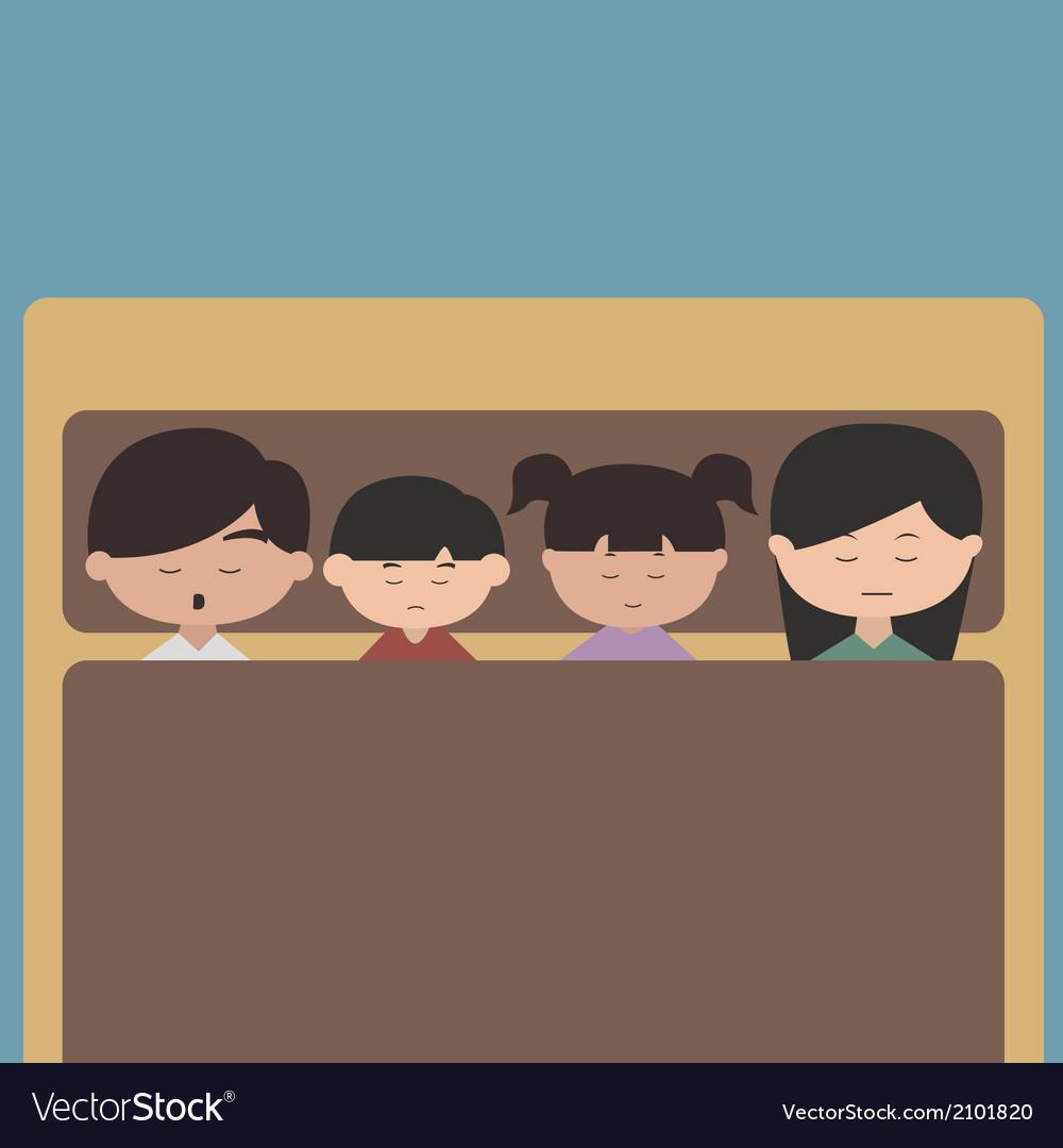 Happy Family Cartoon Character Sleeping Royalty Free Vector