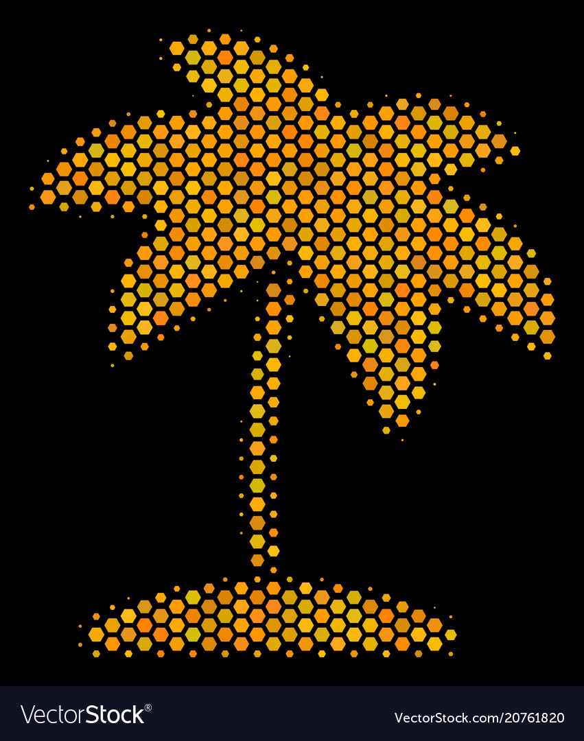 Hexagon halftone island tropic palm icon