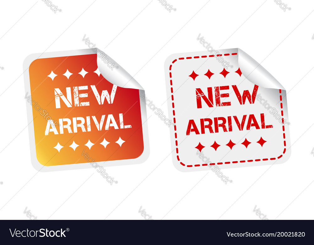 New arrival stickers on white background