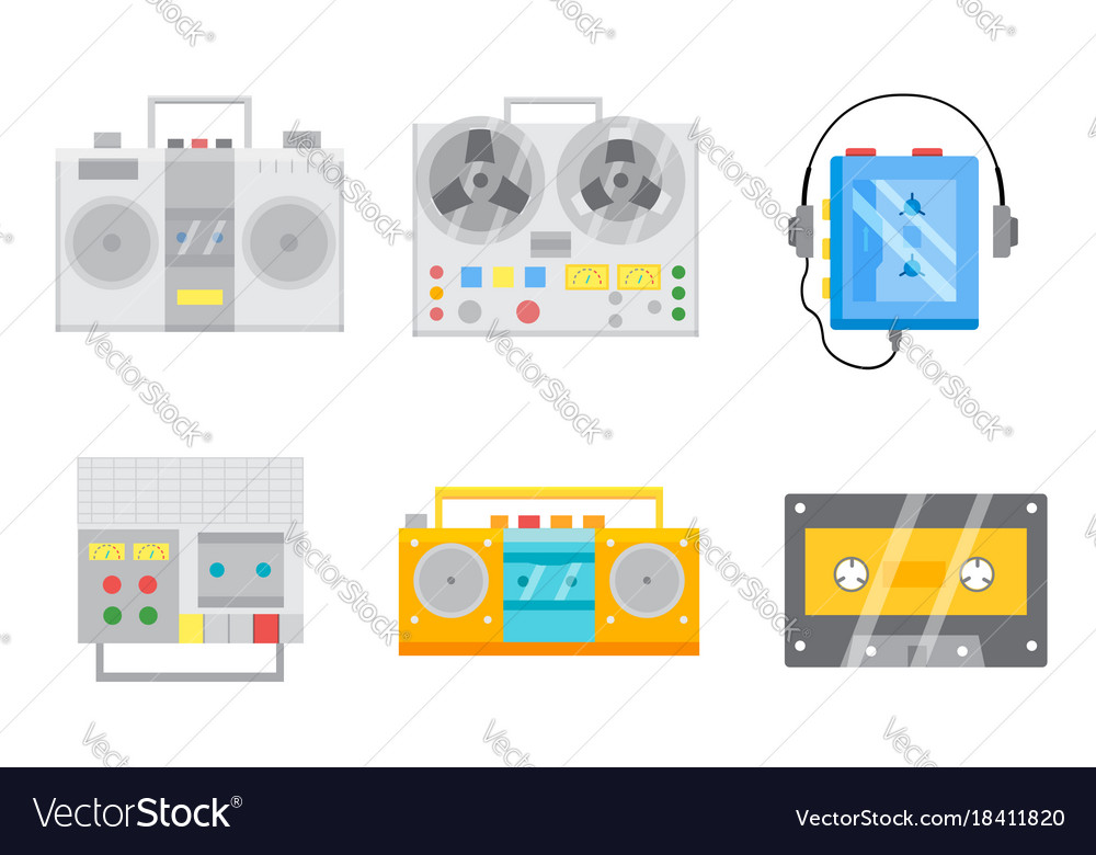 Retro tape recorders icon set