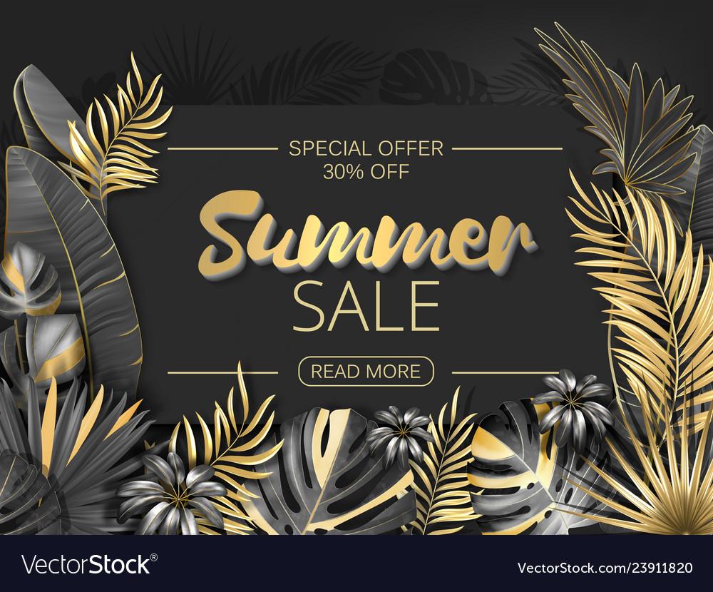 Sale summer sale tropical leaves frame on striped