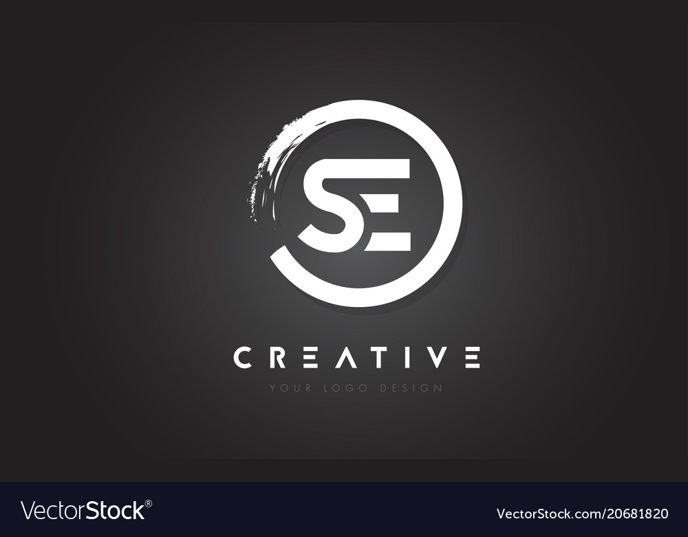 Se circular letter logo with circle brush design