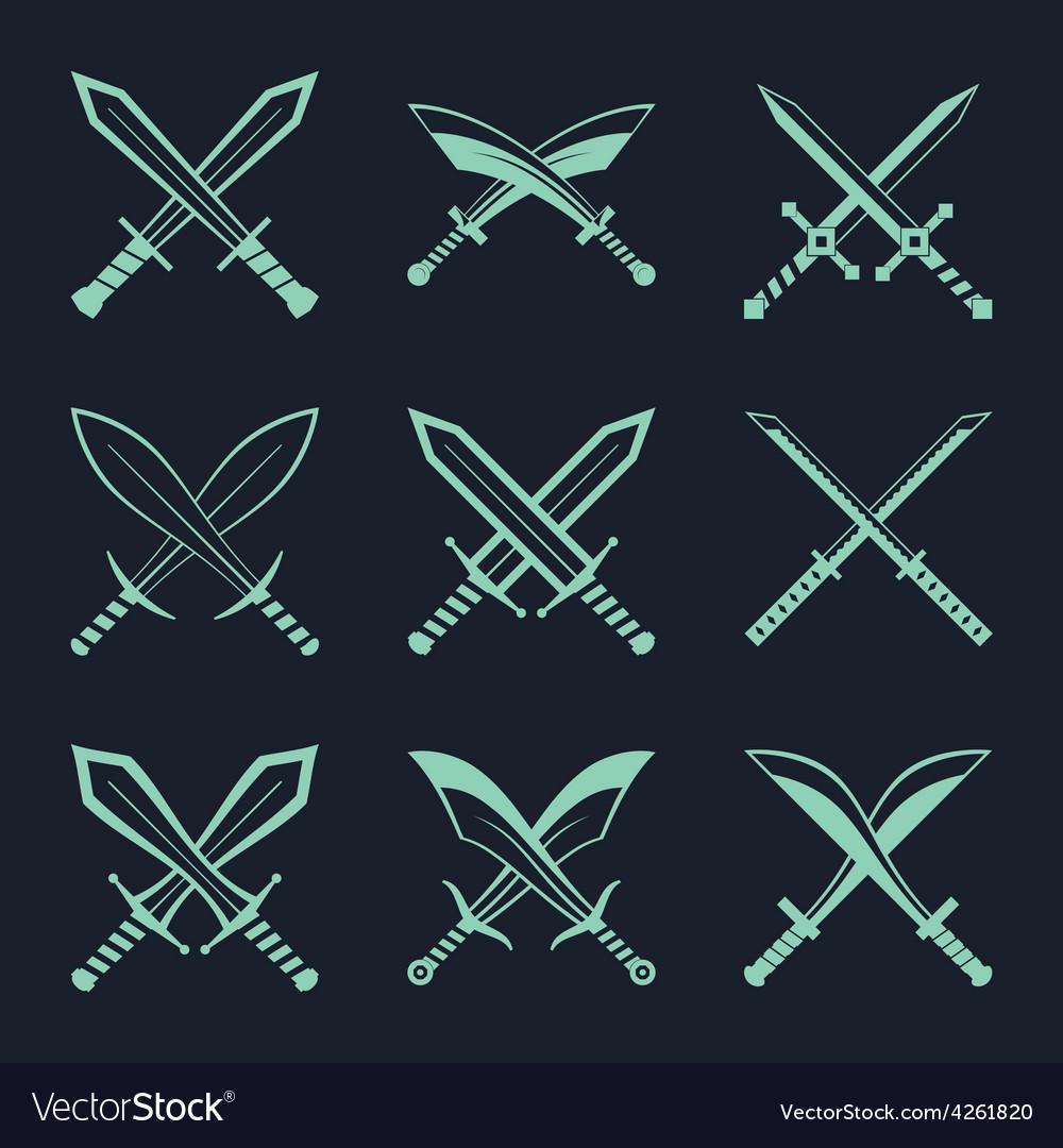 Set heraldic swords and sabres for heraldry