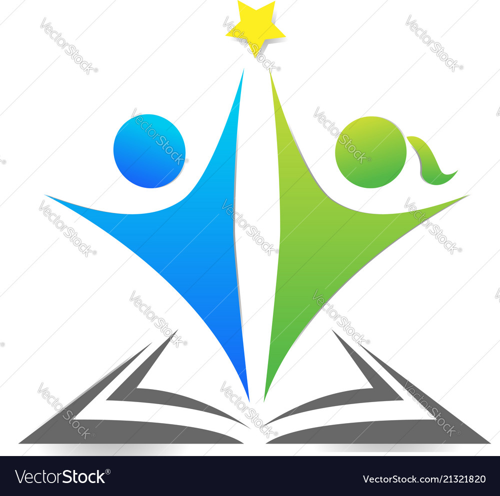 Team people reaching the star logo concept