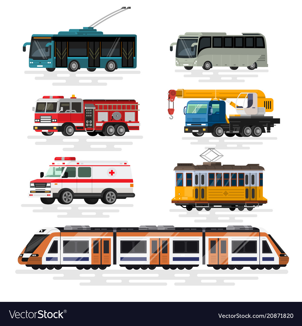 Urban city cars and vehicles transport