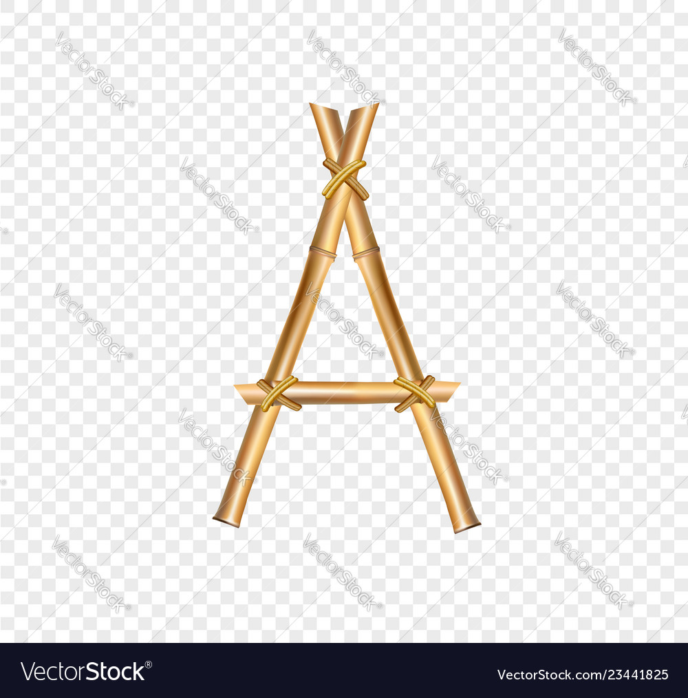 Bamboo letter a isolated on transparent background