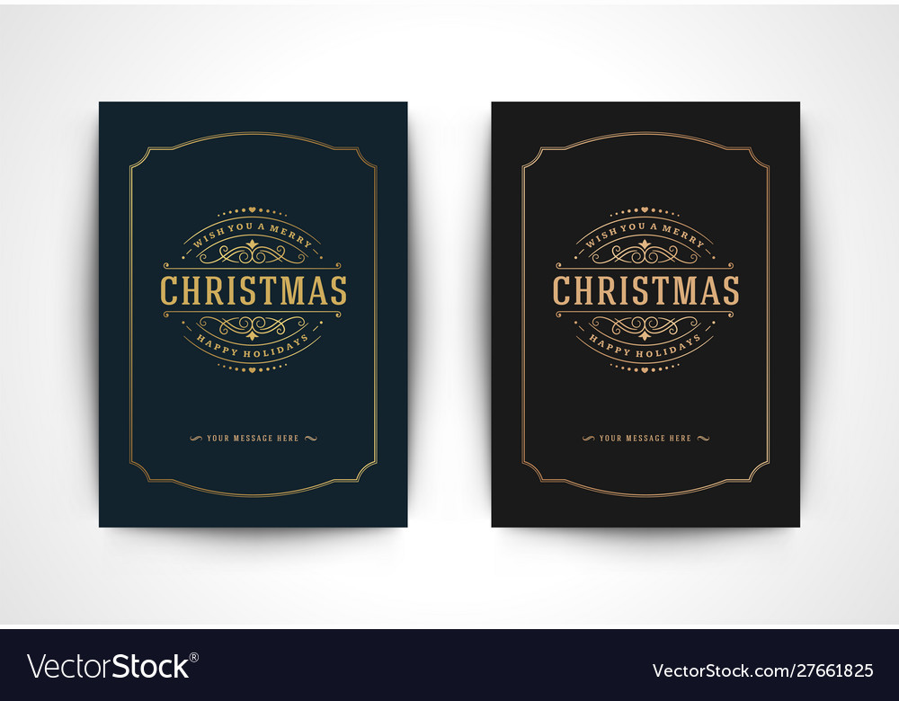 Christmas greeting card and ornate typographic