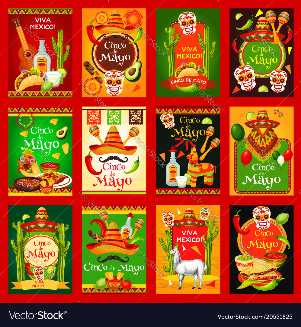 Cinco de mayo mexican holiday posters