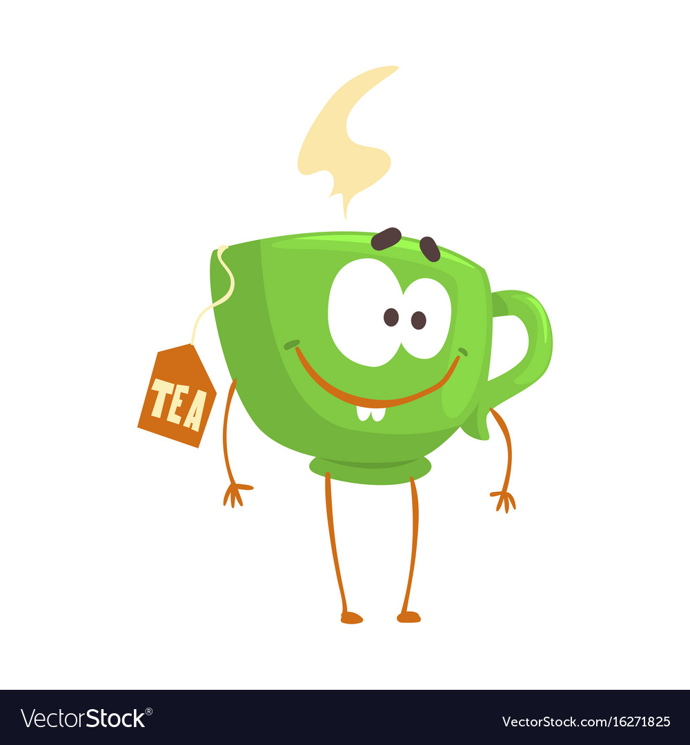 Cute cartoon green cup of tea with smiley face