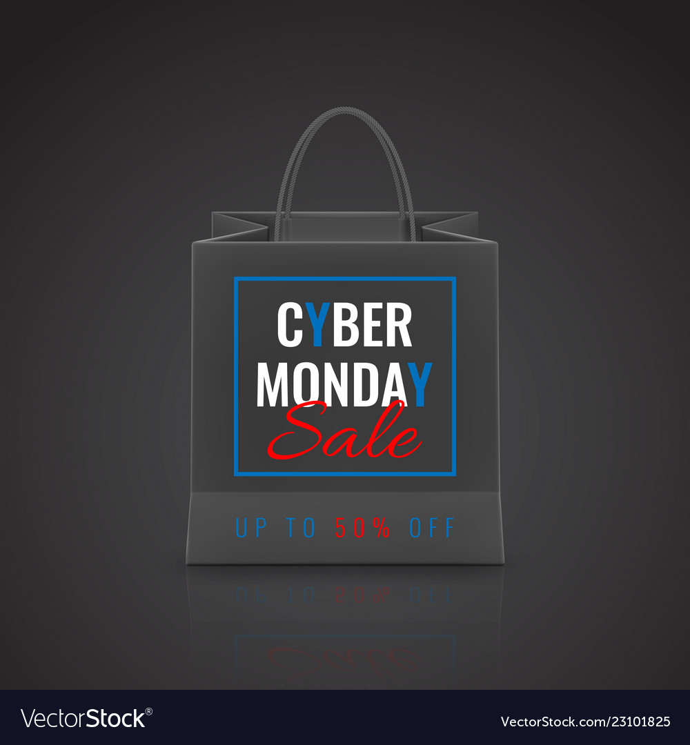 Cyber monday sale realistic paper shopping bag