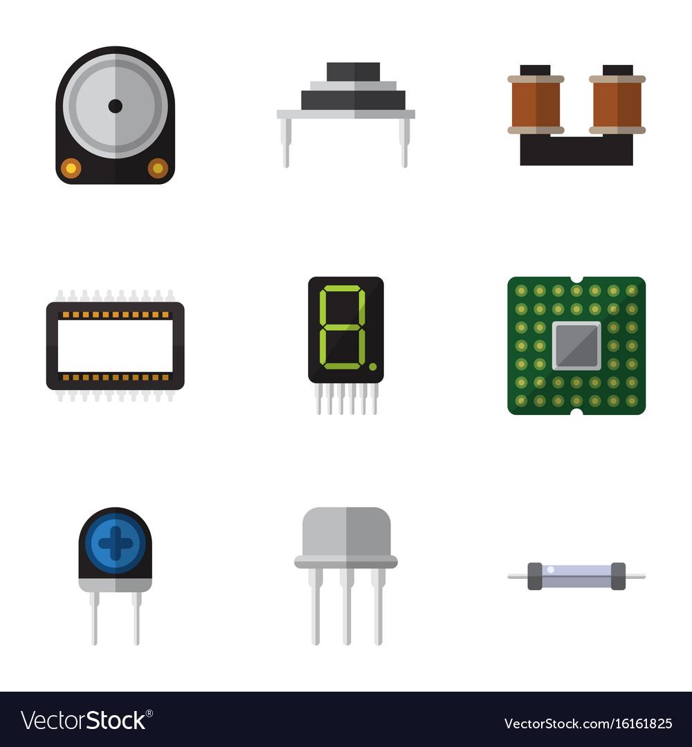 Flat icon technology set of resistor unit vector image