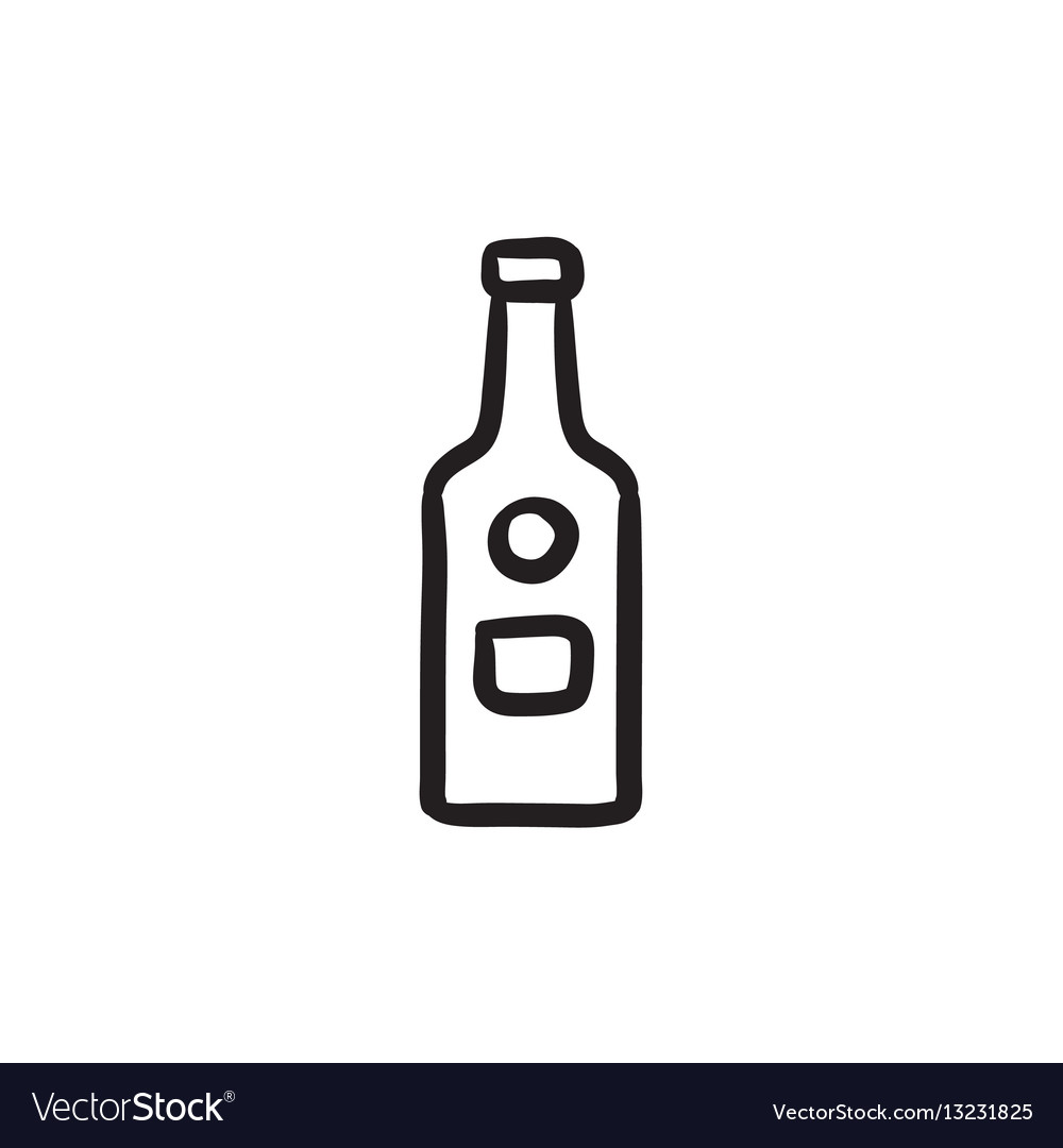 Glass bottle sketch icon