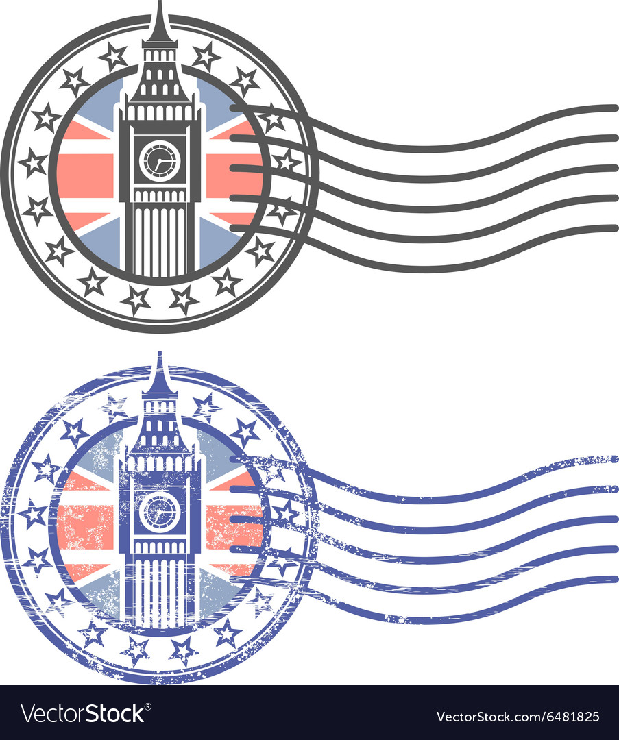 Grunge stamp with Big Ben and British flag