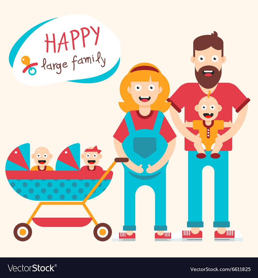 Happy Large Family