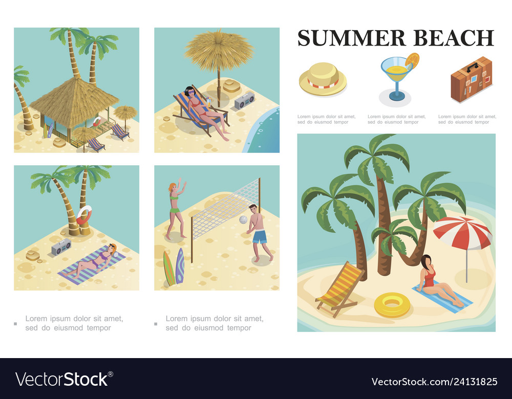 Isometric summer vacation composition