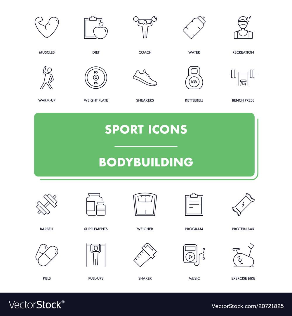 Line sport icons set bodybuilding