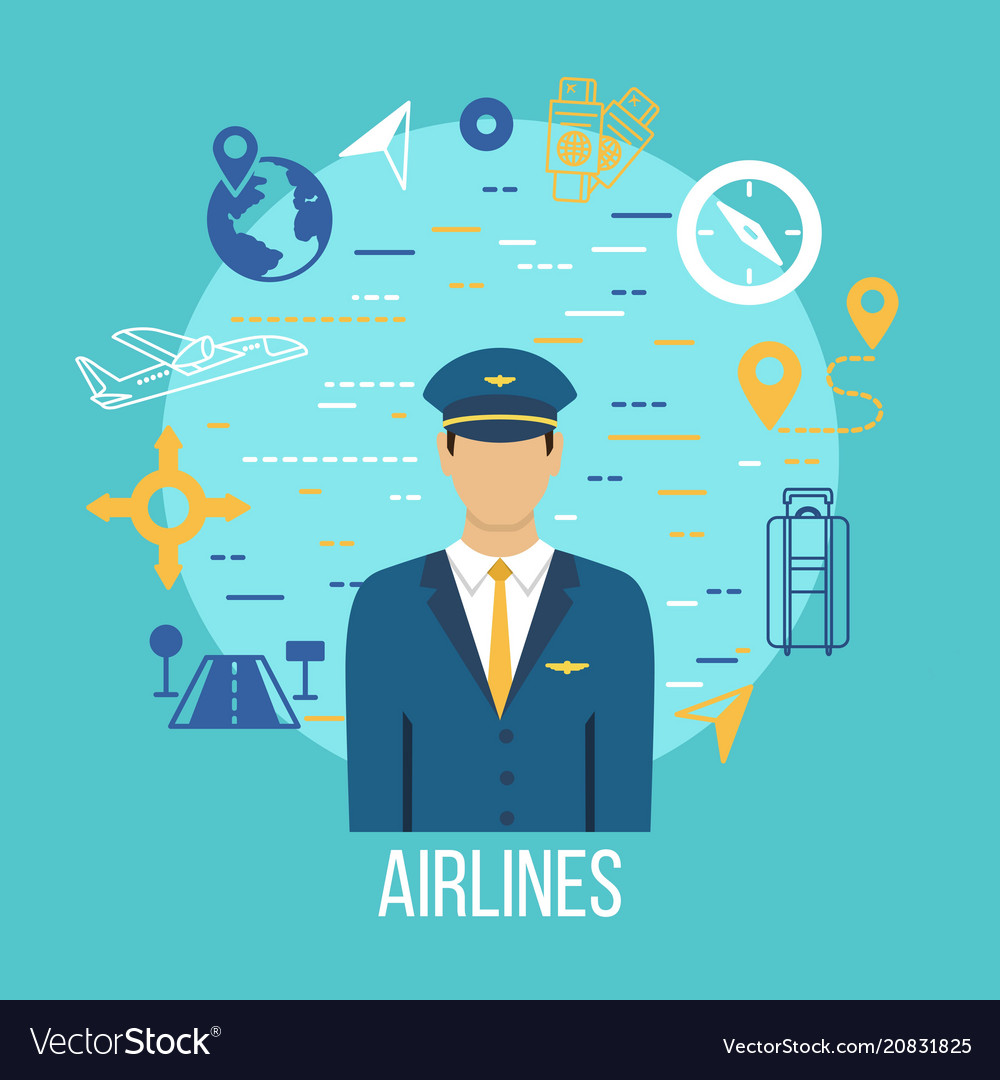 Pilot profession flat icons with captain
